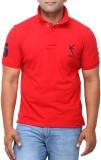 Yross Self Design Men's Polo Neck Red T-...