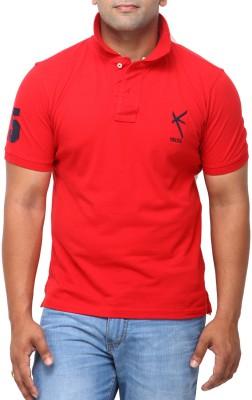 Yross Self Design Men's Polo Neck Red T-Shirt