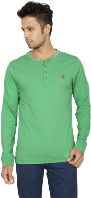 Red Line Solid Men's Henley Green T-Shirt