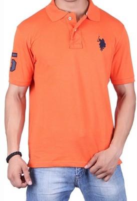 Ganesh Creation Solid Men's Polo Neck Orange T-Shirt