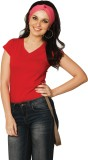 Miss Chase Solid Women's V-neck Red T-Sh...