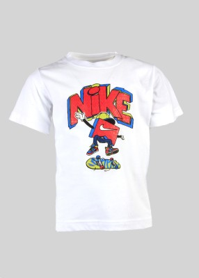 Nike Kids Printed Boy's Round Neck White T-Shirt