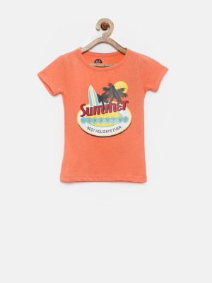 YK Printed Girl's Round Neck Orange T-Shirt