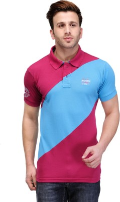 Canary London Solid Men's Polo Pink, Blue T-Shirt