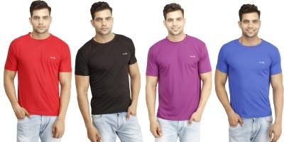 Eprilla Solid Men,s Round Neck Black, Red, Purple, Blue T-Shirt