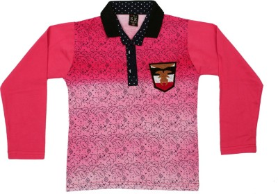 Tiny Toon Printed Boy's Polo Neck Pink T-Shirt
