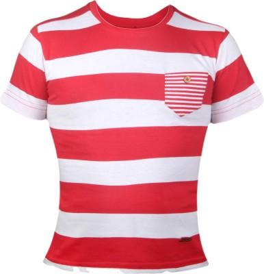 VITAMINS Striped Boy's Round Neck Red T-Shirt