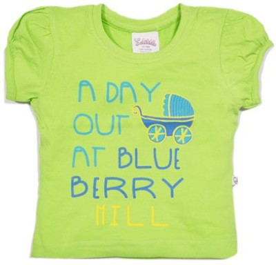 Solittle Printed Baby Girl,s Round Neck Green T-Shirt