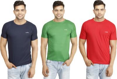 Eprilla Solid Men,s Round Neck Red, Green, Dark Blue T-Shirt