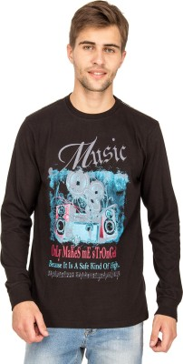 Bluesaint Graphic Print Men's Round Neck Black T-Shirt