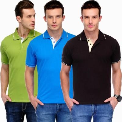 Scott International Solid Men's Polo Brown, Blue, Green T-Shirt