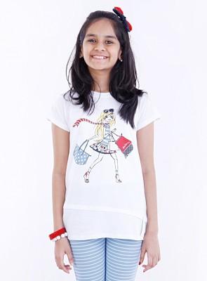 Milou Graphic Print Girl's Round Neck T-Shirt