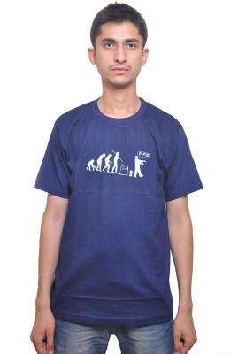 Flirky Printed Men's Round Neck Blue T-Shirt