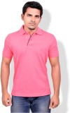Gumality Solid Men's Polo Neck Pink T-Sh...