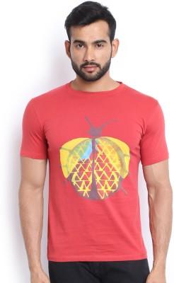 Soul Deep Skin Printed Men's Round Neck Red T-Shirt