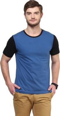 BUKKL Solid Men's Round Neck Blue T-Shirt