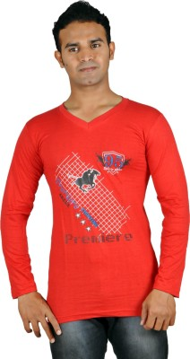 Harsha Printed Men's V-neck Red T-Shirt