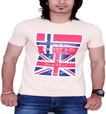 MaximBlue Printed Men's Round Neck Brown T-Shirt