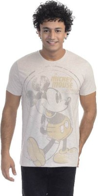 Mickey & Friends Printed Men's Round Neck Grey T-Shirt