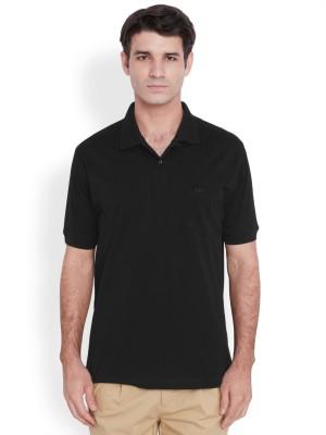 ColorPlus Solid Men's Polo Neck Black T-Shirt