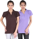 Avarnas Solid Women's Polo Neck Brown, P...