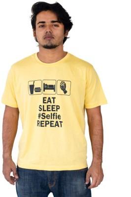 Marzzi Graphic Print, Printed Men's Round Neck Yellow T-Shirt