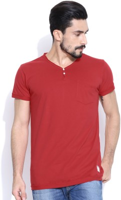 Hubberholme Solid Men's Fashion Neck Red T-Shirt