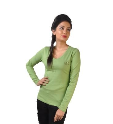 No Code Solid Women's V-neck Light Green T-Shirt