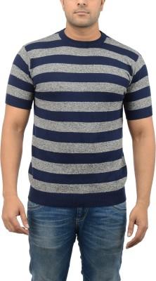 Blue Heaven Striped Men's Round Neck Blue, Grey T-Shirt