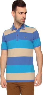 Crocodile Striped Men,s Polo Neck Blue T-Shirt