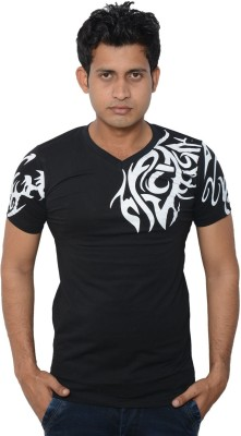 Lampara Printed Men's V-neck Black T-Shirt