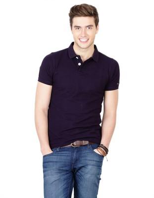 Basics Solid Men's Polo Neck Purple T-Shirt