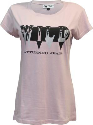 Attuendo Printed Women's Scoop Neck Pink T-Shirt