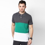 Haute Couture Striped Men's Polo Neck Mu...
