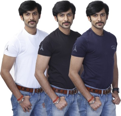 Rough Ride Solid Men's Round Neck White, Blue, Black T-Shirt