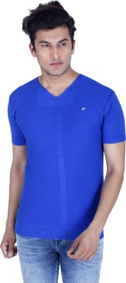 Integriti Solid Men's V-neck Blue T-Shirt
