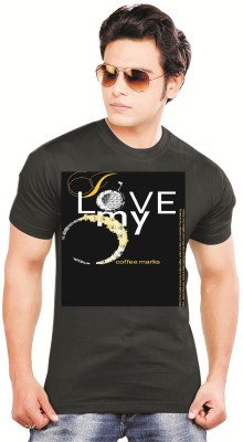 balaji Printed Men's Round Neck Black T-Shirt