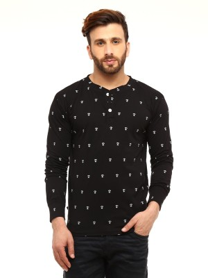 Gritstones Printed Men's Henley Black T-Shirt