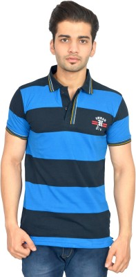 Urban Trail Embroidered Men's Polo Neck Blue T-Shirt
