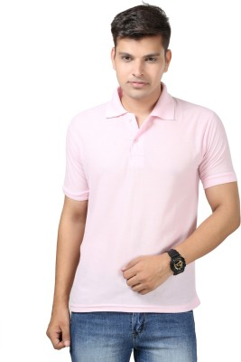 Etoffe Solid Men's Polo Pink T-Shirt