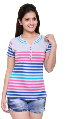 IN Love Striped Women's Henley Grey T-Shirt