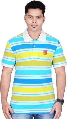 Poppini Striped Men's Polo Neck White, Yellow T-Shirt