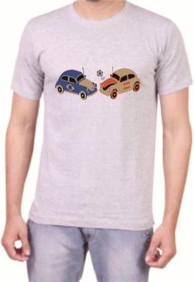 Teeswood Graphic Print Men's Round Neck Grey T-Shirt