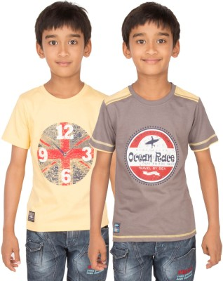 Ocean Race Graphic Print Boy's Round Neck Brown, Yellow T-Shirt