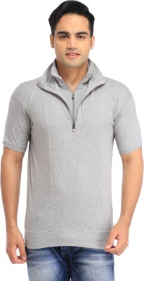 TEES COLLECTION Solid Men's Flap Collar Neck Grey T-Shirt