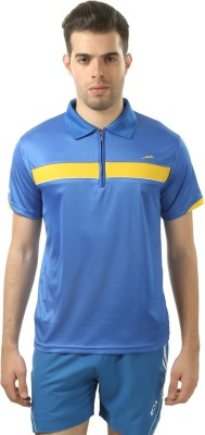 Stag Printed Men's Polo Neck Blue, Yellow T-Shirt