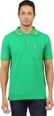 Menthol Solid, Embroidered Men's Polo Neck Green T-Shirt