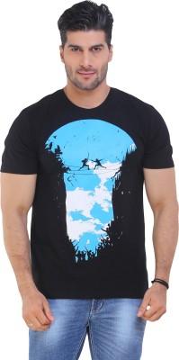 IWearMe Graphic Print Men's Round Neck Black, Blue T-Shirt