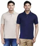 Fleximaa Solid Men's Polo Neck Dark Blue...