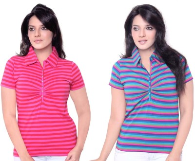 sinimini Striped Womens Polo Neck Pink, Purple T-Shirt